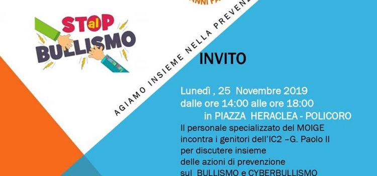 """Il giro dell'Italia del MOIGE contro il cyberbullismo arriva anche in Basilicata, all'IC2 """"Giovanni Paolo II"""" di Policoro, il 25 novembre."""
